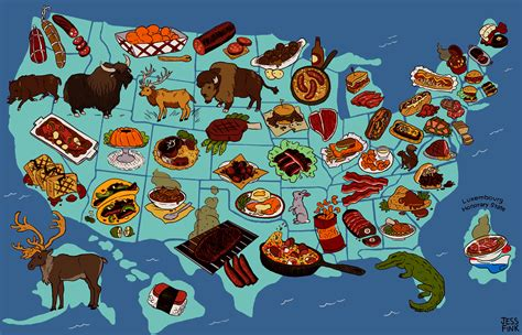 usa cuisine united steaks of america map if each state could