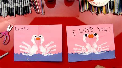 finger paint swans valentines card art