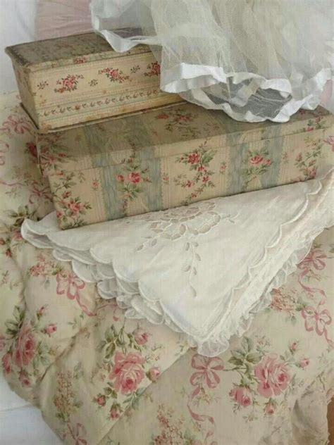 french fabric covered antiques boxes linen organza eiderdown roses floral vintage french flea