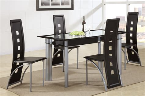 poundex f2212 f1274 glass top dining table with black