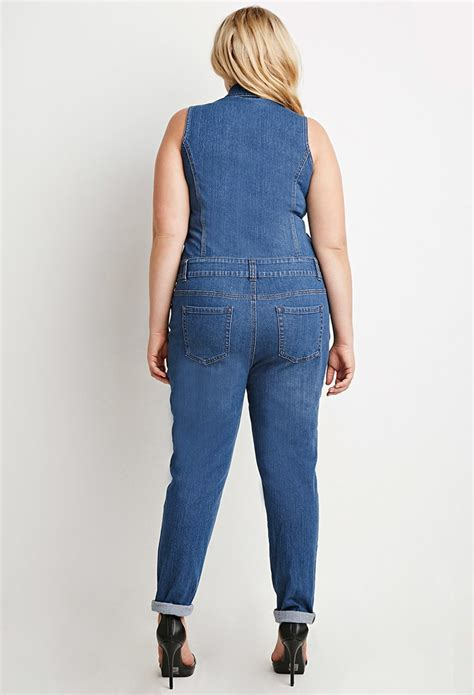 forever 21 denim jumpsuit forever 21 plus size zip front denim jumpsuit in blue lyst