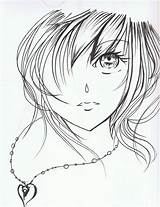 Anime Face Drawing Coloring Sketch Faces Drawings Pages Sad Cartoon Animated Pretty Crying Sketches Line Pencil Rrrr Simple Hand Hands sketch template