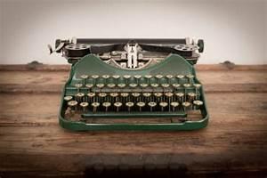 Color Image Of Green Vintage Manual Typewriter Stock Photo