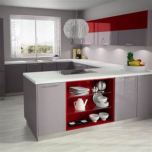 Ilot red album media hold up kitchen design rangement for Cuisine rouge et beige