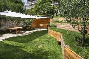 amenagement jardin en pente idees pour vous faciliter la With jardins et terrasses photos 3 amenagement dun espace vert avec terrasse par le