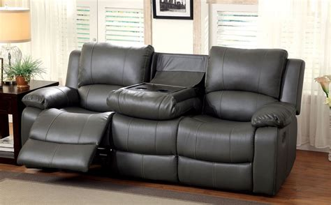 reclining sofa with drop down table sarles gray drop down table reclining sofa from furniture