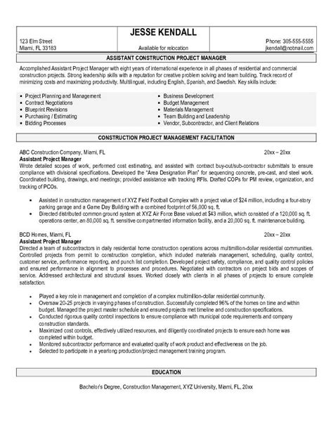 Project Management Resume Key Terms by Free Construction Assistant Project Manager Resume Exle