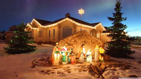 outdoor christmas nativity scene ultra hd desktop