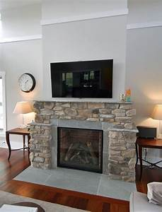 Contemporary Farmhouse Stone Fireplace And Wood Floors