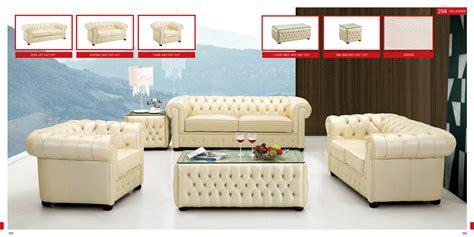 Esf 258 Genuine Full Italian Leather Sofa Set
