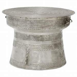 palecek silver rain bazaar silver drum outdoor coffee table With large drum coffee table