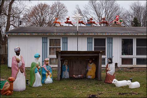 house  nativity scene   yard  santa