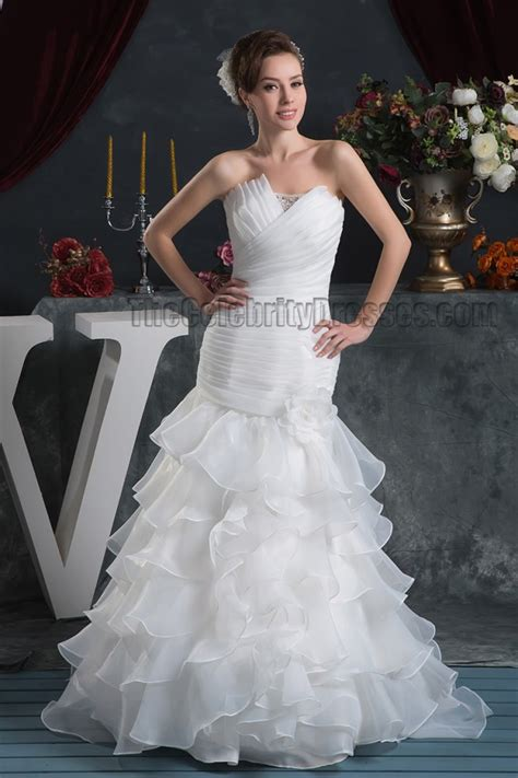 trumpetmermaid strapless ruffles lace  wedding dresses