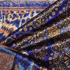 10 Metres Of British Designer Print Velvet Blue Gold