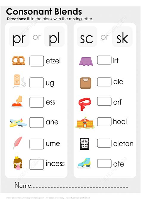 consonant blends worksheet free printable puzzle