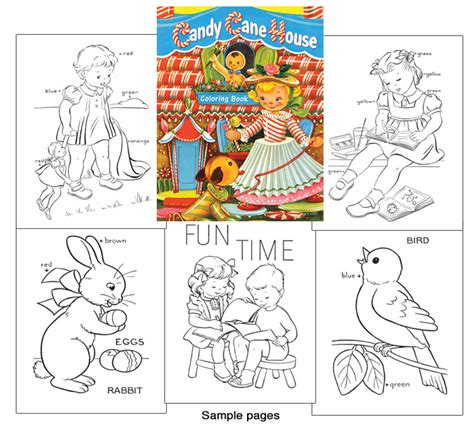 candy cane house coloring book  fashioned coloring
