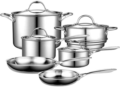 fal csc ultimate stainless steel copper bottom  piece cookware set silver