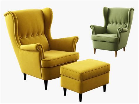 chair and ottoman ikea 3d model ikea strandmon wing chair ottoman