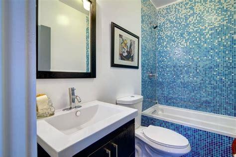 bathroom  vibrant blue tile modern bathroom los