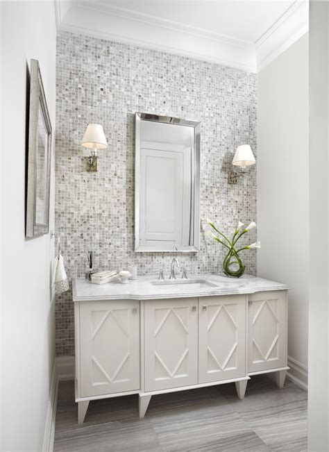 classic powder room bathroom accent wall tile accent