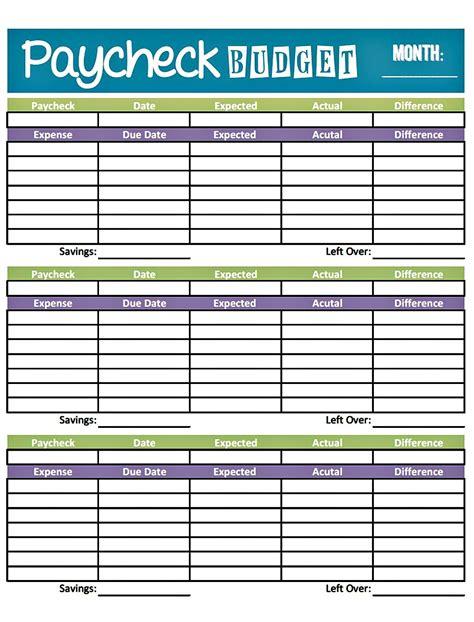easy printable budget worksheet get paid weekly and