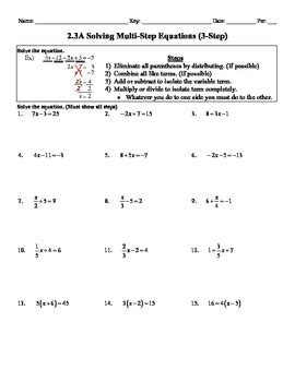 holt algebra 2 3a solving multi step equations 3 step worksheet doc pdf