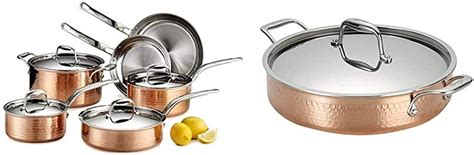 amazoncom lagostina martellata hammered copper  tri ply stainless steel cookware set