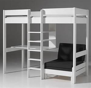 Lit Mezzanine Blanc : lit mezzanine personne ~ Teatrodelosmanantiales.com Idées de Décoration