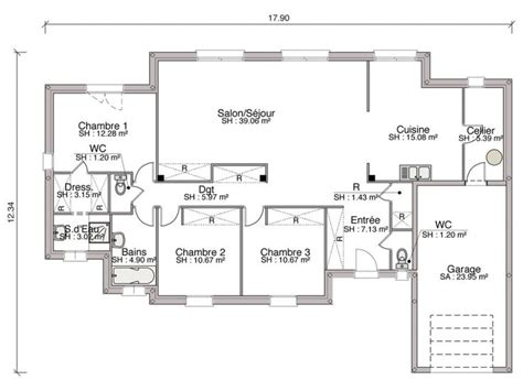 plan maison 120m2 4 chambres 25 best plain pied ideas on plan maison plein