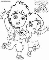 Dora Coloring Diego Pages Cartoon Print sketch template