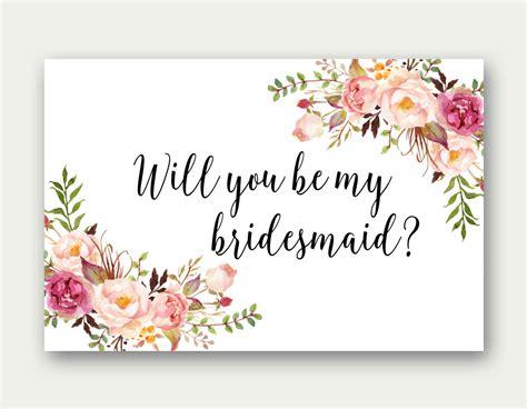 bridesmaid printable bridesmaid card