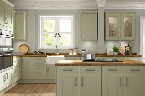 olive green timber shaker kitchen somerset range