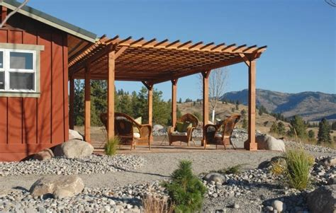 Redwood Pergola Attached to House