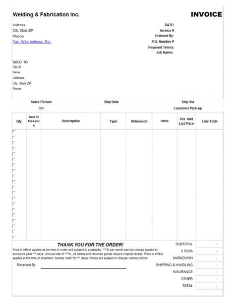 garage invoice template invoice