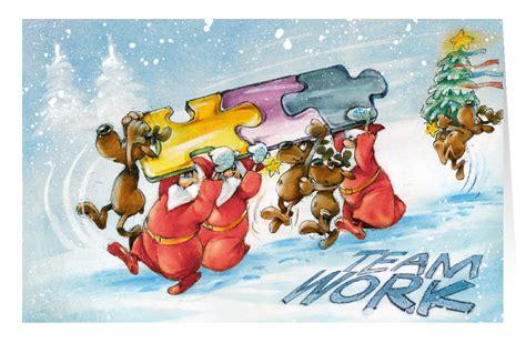 weihnachtskarte branchenkarte teamwork puzzleteile
