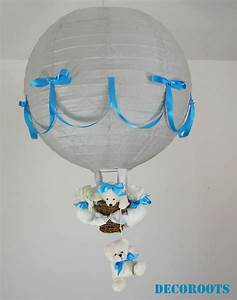 Lampe Chambre Garçon : lampe montgolfi re enfant b b ours gris et bleu enfant b b luminaire enfant b b decoroots ~ Teatrodelosmanantiales.com Idées de Décoration