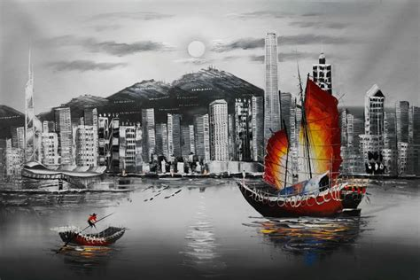 hand painted oil canvas painting white  black hong kong