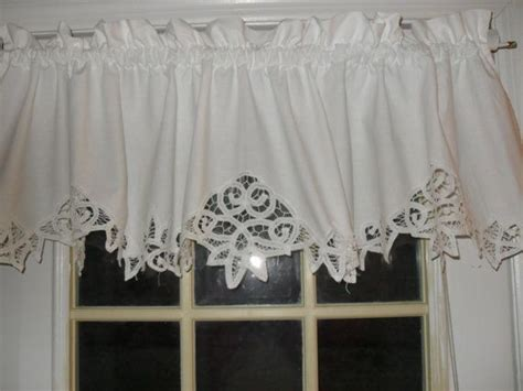 white shabby battenburg lace valance country curtain