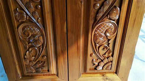 wood carving double door peacock design youtube
