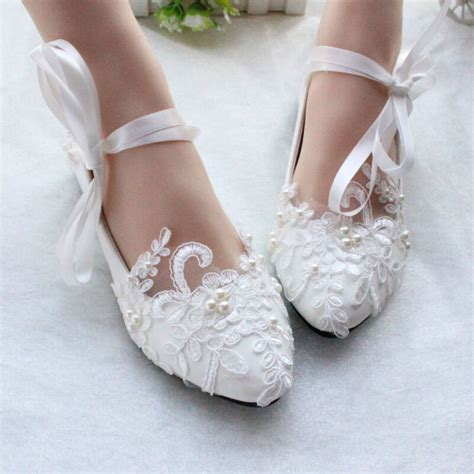 women flats pearls lace mary jane princess wedding white