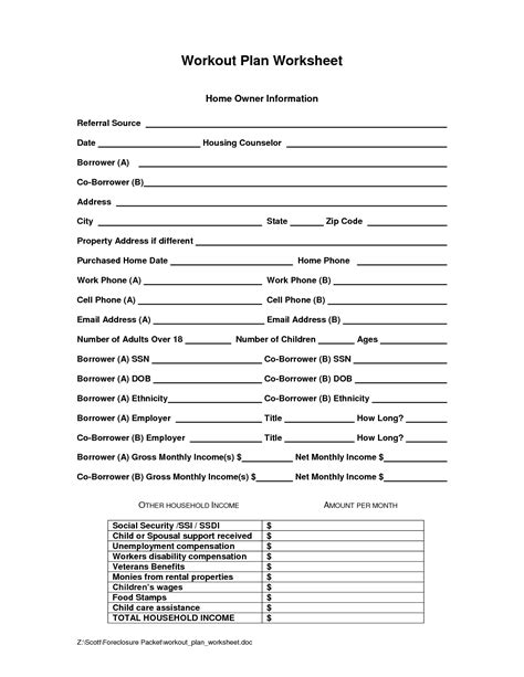 images  exercise plan worksheet personal