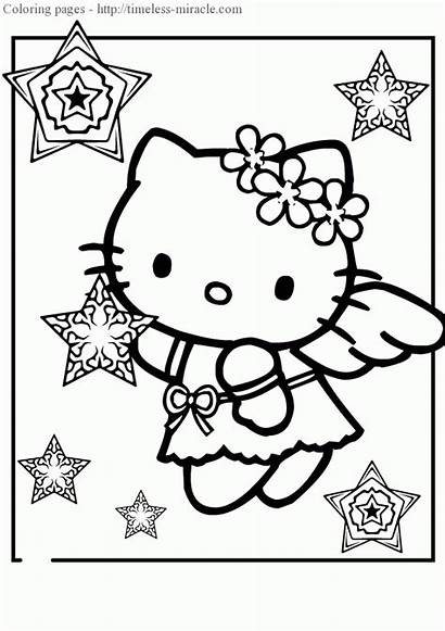 Kitty Hello Coloring Pages Mermaid Printable Colouring