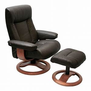Scansit 110 ergonomic leather recliner chair ottoman for Recliner chairs with ottoman