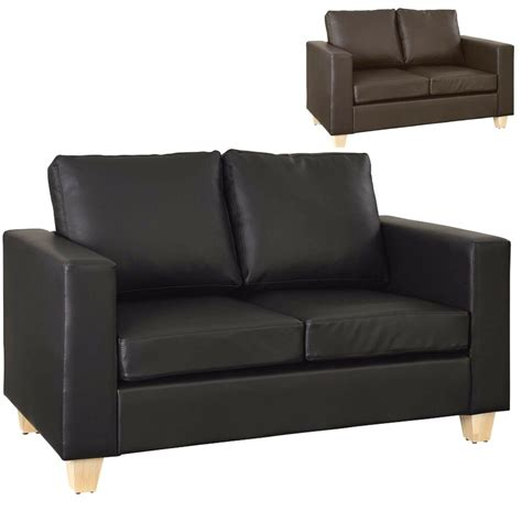 faux leather settee 2 seater sofa black or brown faux leather modern design
