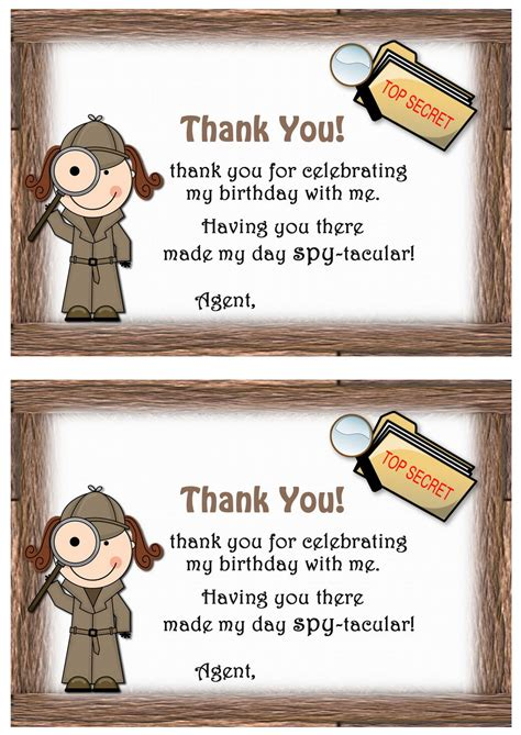 spy   cards birthday printable