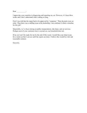 Long Repair Time Complaint Letter