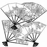 Oriental Coloring Fans Fan Vector Adult Uncoloured Decorated Colourbox Uncolored Textiles Posters Floral Patterns Illustration sketch template