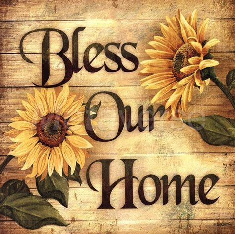 Bless our home sunflower blessings wall floral country art