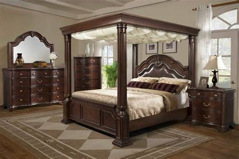 canopy bedroom set furniture tabasco bedroom set with canopy bed 10984