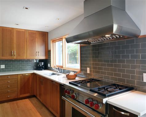 Fabulous Grey Subway Tile Kitchen with Island Cottage